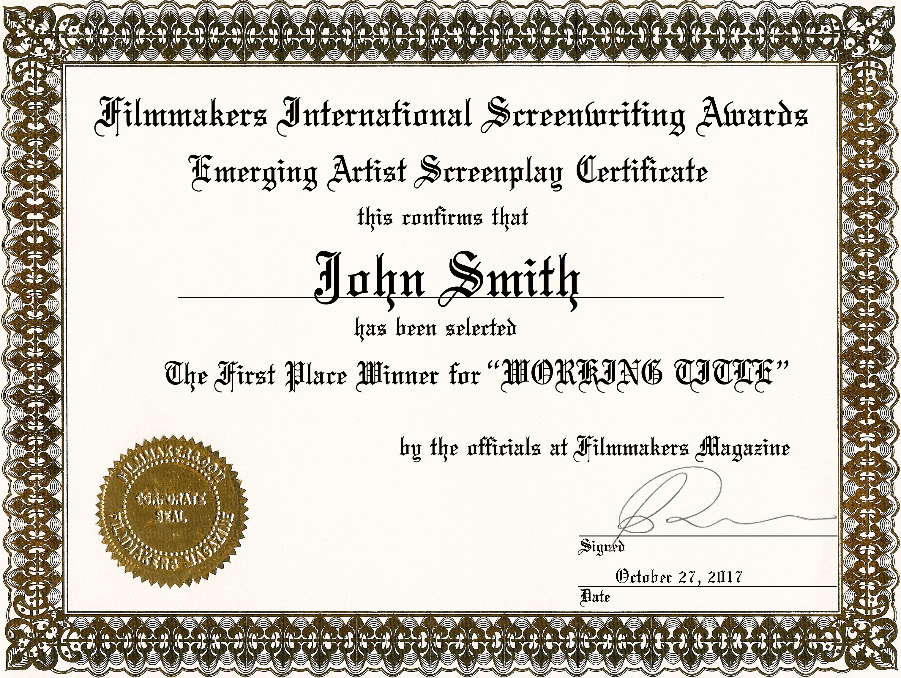 filmmakersscreenplayplaquesjpg – First Place Award Certificate